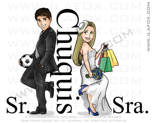 caricatura desenho, caricatura noivinhos, caricatura casal, Chuquis, corpo inteiro, sr e sra smith, by ila fox