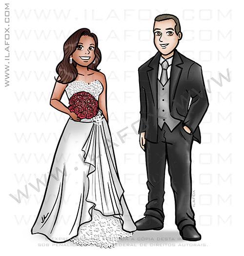 caricatura casal, caricatura noivos, caricatura bonita, perto e longe, caricatura para casamento, by ila fox