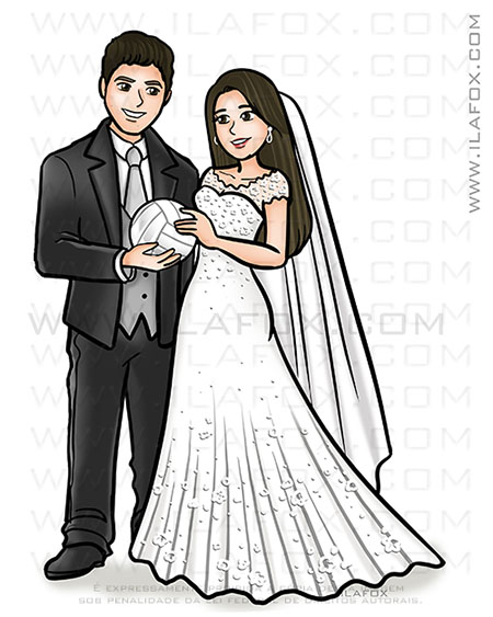 caricatura proporcional, caricatura noivos, caricatura bonita, caricatura sem exageros, caricatura noivos segurando bola volei, by ila fox