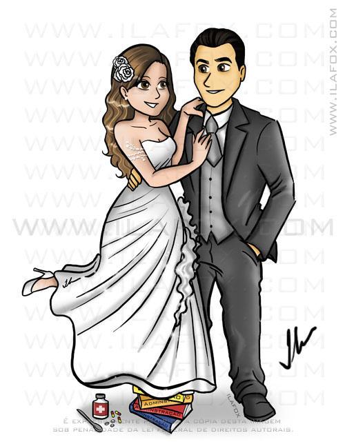 desenho corpo inteiro, noiva levantando pé, em cima de livros, remédios, caricatura para casamento by ila fox