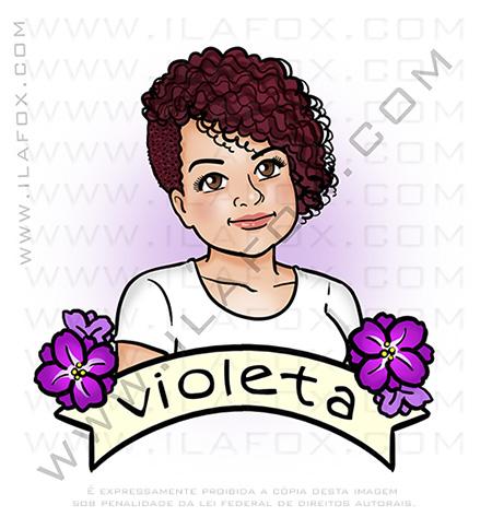 retrato desenho, retrato, moça, violeta