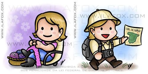 Desenho Bordando, Turista, mini, caricatura fofinha, Angela, by ila fox