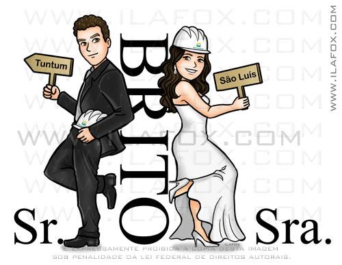 caricatura noivinhos, caricatura casal, caricatura bonita, Brito, caricatura sr e sra smith