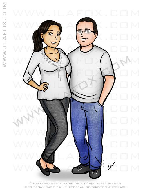 Caricatura personalizada, casal, orpo inteiro, colorido, by ila fox