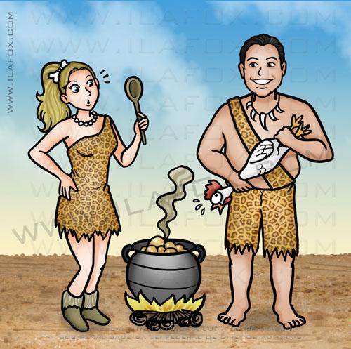 caricatura casal, caricatura idade da pedra, caricatura bambam pedrita, caricatura by ila fox