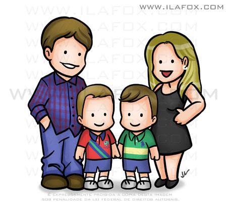 Caricatura fofinha, família, desenho personalizado de família, by ila fox