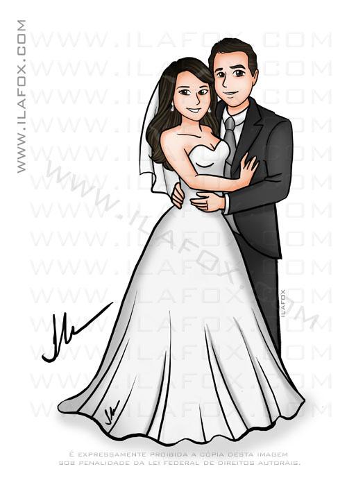 caricatura casal, caricatura colorida, caricatura noivinhos, by ila fox