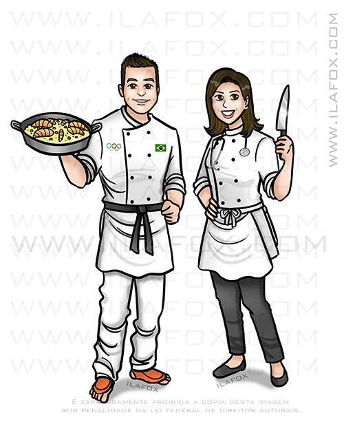 caricatura personalizada, caricatura hobby, caricatura chef cozinha