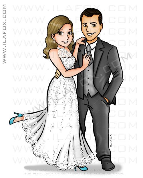 Caricatura corpo inteiro, caricatura noivos, caricatura casal, caricatura desenho, caricatura para casamento, by ila fox