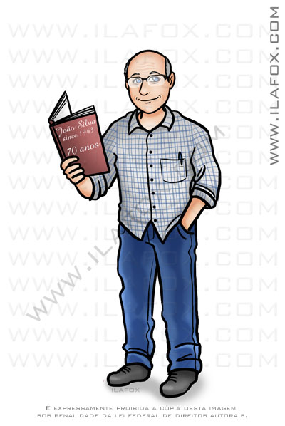 caricatura desenho, caricatura senhor, senhor segurando livro, caricatura bonita, caricatura by ila fox