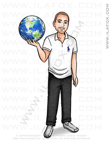 caricatura homem, caricatura segurando o globo, caricatura viagem, caricatura jovem, caricatura bonita, by ila fox