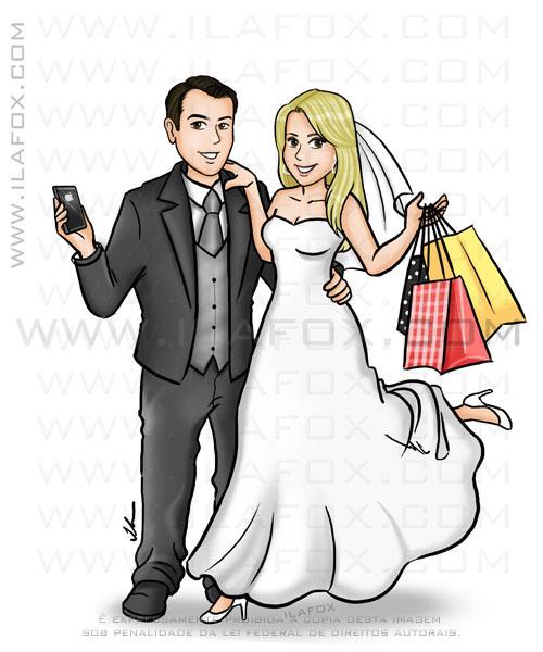 Caricatura noiva segurando sacola de compras, caricatura noivo com celular, by ila fox