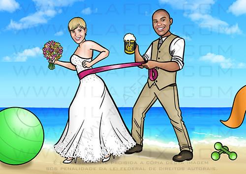 caricatura proporcional, caricatura verão, caricatura praia, caricatura noivos, caricatura personal trainer,