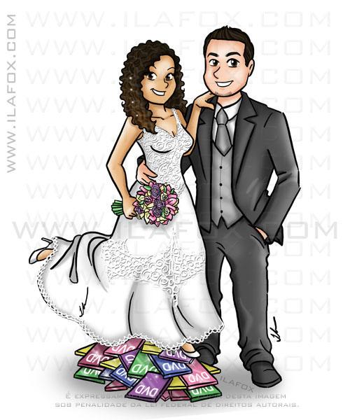 Caricatura corpo inteiro, colorida, noiva baixinha e noivo alto, noiva morena e noivo branco, caricatura para casamentos by ila fox