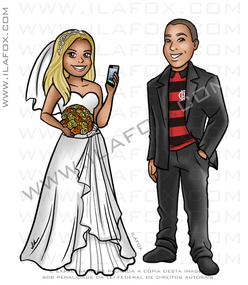 caricatura casal, caricatura noivos, caricatura sem exageros, caricatura para casamento, ila fox