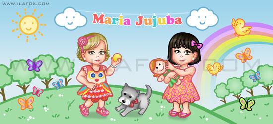ilustração para site, cabeçalho personalizado, maria jujuba, maria, julia, ilustração by ila fox