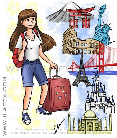 Desenho mangá encomenda, menina viajando pelo mundo, nova york, são francisco, japão, paris, india, disney