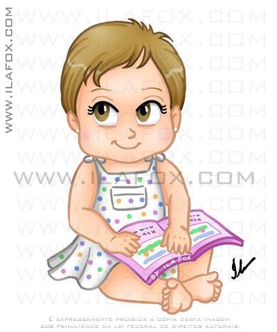 caricatura, desenho bebê sentado com livro, menina Marina by ila fox