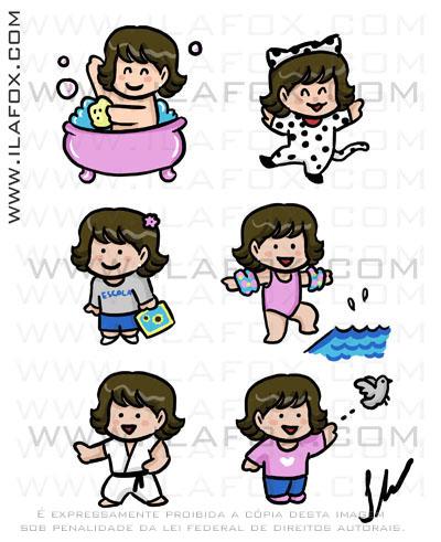 Desenho SD, chibi, fofo, mangá, encomenda, menina, várias situações, by ila fox