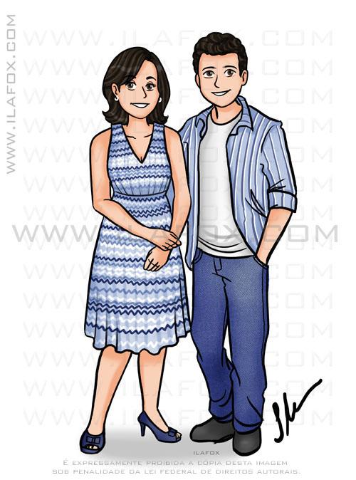 Caricatura personalizada, caricatura mãe e filho, by ila fox