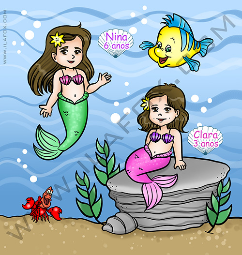 caricatura desenho, caricatura infantil, caricatura mar, pequena sereia, convite personalizado, by ila fox