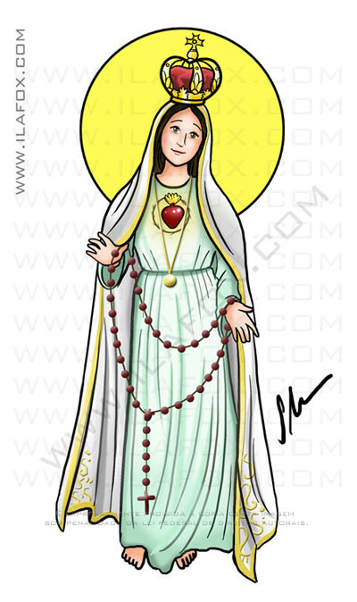 caricatura desenho, Nossa Senhora de Fátima, by ila fox