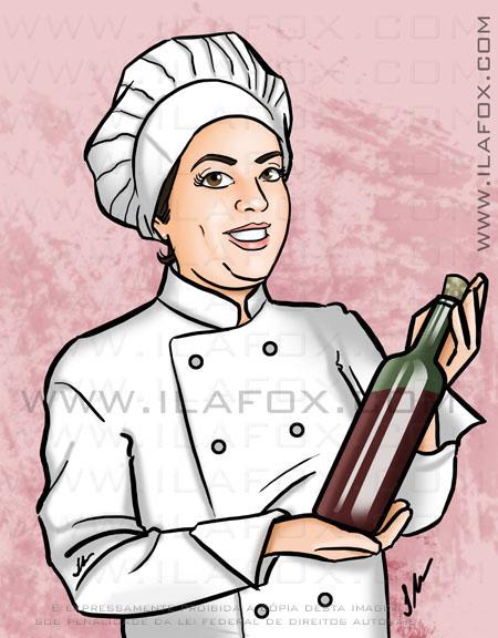 Desenho chef segurando vinho ilustração by ila fox
