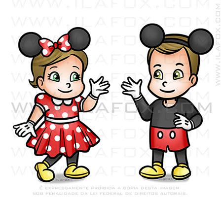 caricatura desenho, caricatura infantil, caricatura criança, mickey e minnie, by ila fox