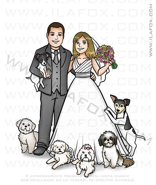 caricatura casal com cachorrinhos, caricatura casal com cães, caricatura familia, caricatura casal, caricatura bonita, caricatura para noivos, caricatura pets by ila fox