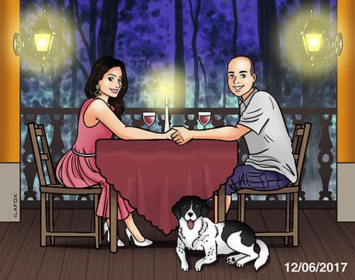 caricatura desenho, caricatura personalizada, caricatura casal, caricatura bonita, caricatura Fran e Renato, caricatura de presente, dia dos namorados, by ila fox
