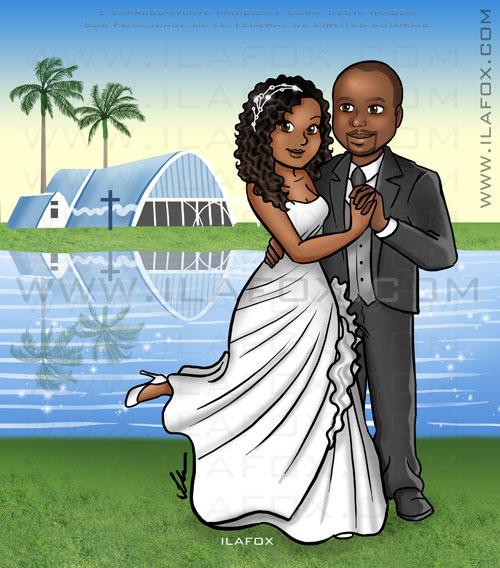 Caricatura casal, corpo inteiro, casal negro, noiva negra, noivo negro, igreja de São Francisco, na Lagoa da Pampulha, em Belo Horizonte, caricatura para casamento by ila fox