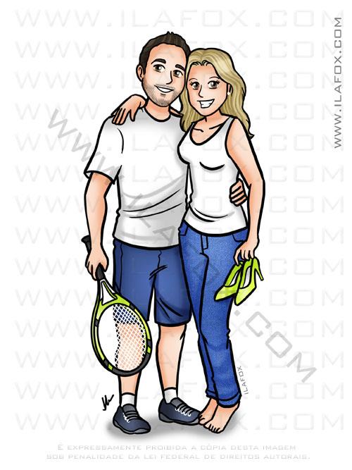 caricatura personalizada, caricatura casal, segurando raquete tênis, by ila fox