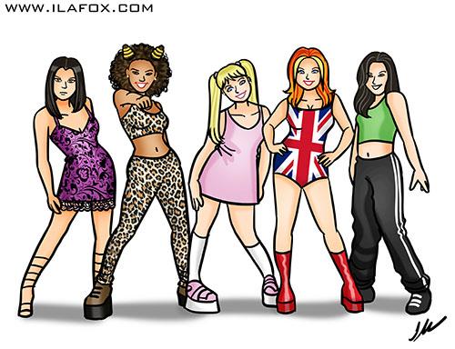 caricatura desenho, caricatura spice girls, spice girls, mel b, mel c, emma, geri, victoria, by ila fox