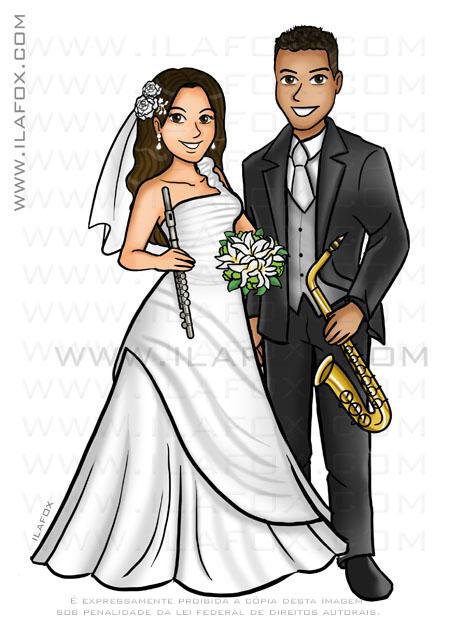 caricatura casal, caricatura noivos com instrumentos musicais, noivos musicos, saxofone, flauta doce, by ila fox