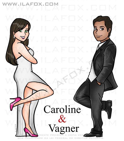 caricatura sr e sra smith, caricatura casal, caricatura bonita, caricatura para casamento, by ila fox