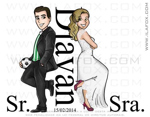 caricatura noivinhos, caricatura para casamento, caricatura sr e sra smith, Djavan, caricatura noivos, caricatura bonita, by ila fox
