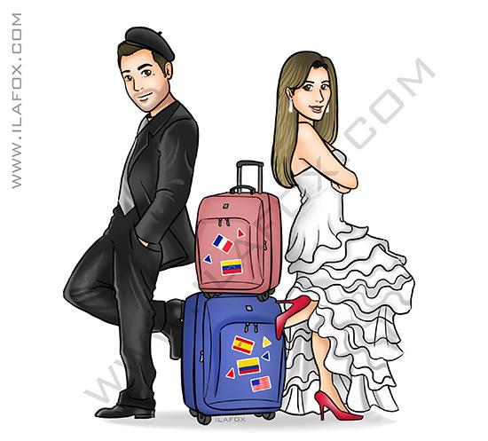 caricatura noivos, caticatura casal gosta de viajar, caricatura viagem, caricatura com malas, caricatura casamento, caricatura para casais, by ila fox