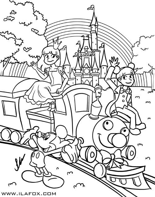 Desenho para pintar, preto e branco, alta resolução, Disney, Mickey, Ila Fox e Ricbit criança, promoção, ilustração by ila fox