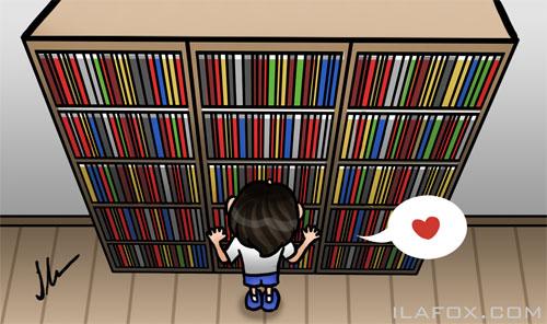 Estante gigante, gostar de ler, ilustração by ila fox