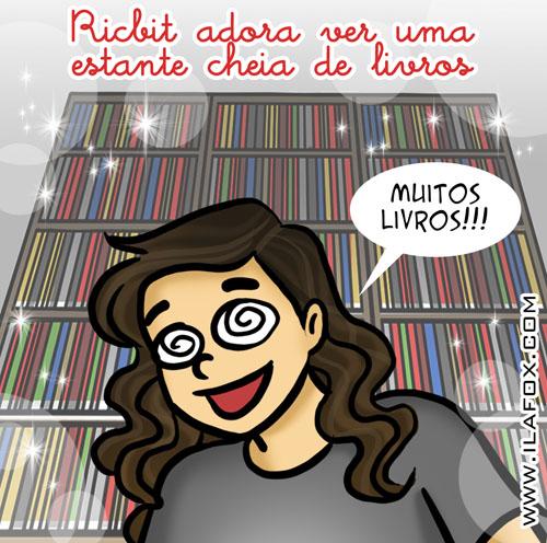 Eu adoro estante de livros, eu adoro livros, ricbit, by ila fox