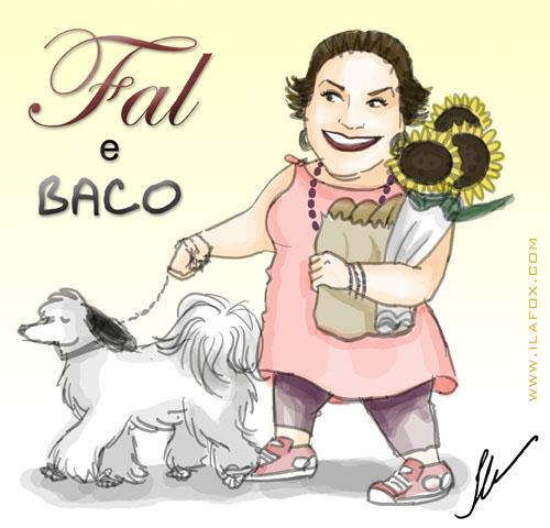 caricatura de Fal Vitiello Azevedo e Baco, passeando com o cachorro, by ila fox