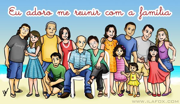 Eu adoro me reunir com a família, caricatura desenho, desenho de família, by ila fox