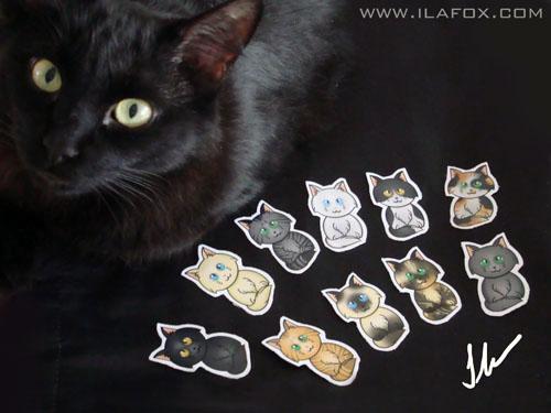 Miucho com imã gatinhos para Adote um Gatinho, Ilustração gato branco, azul, cinza, preto, malhado, rajado, creme, amarelo, tricolor, siamês, casca de tartaruga by ila fox