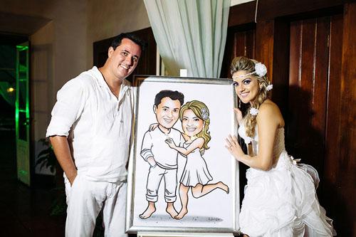 caricatura casal, caricatura noivos, caricatura casamento praiano, caricatura vestidinho branco, by ila fox