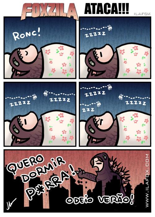Foxzila, a TPM da Ila ataca, odeio pernilongos, pernilongo enquanto dorme, quadrinhos by ila fox
