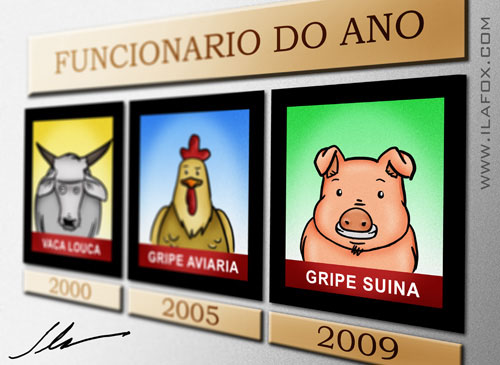 gripe suína h1n1 swine flu caricatura cartoon
