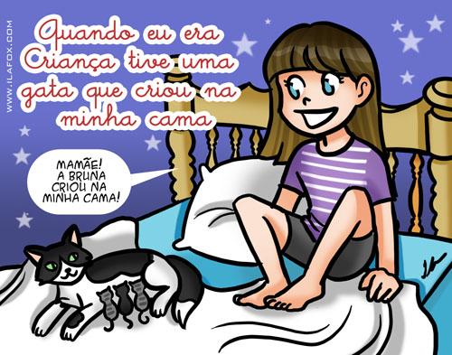 Recordar é viver, minha gata criou na cama, ilustração by ila fox