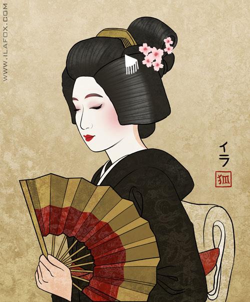 Gueixa, Geiko, Maiko, diferença entre Geiko e Maiko, ilustração by ila fox