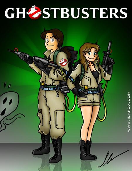 ilustração ghostbusters, caça fantasmas by ila fox