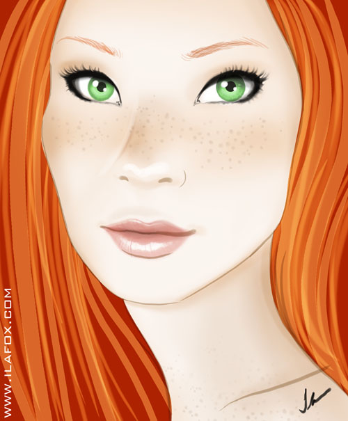 retrato, ruiva, ilustração by ila fox